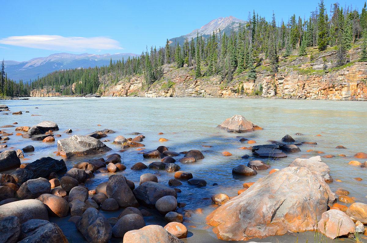 Athabasca Floden i Jasper Nationalpark i Canada