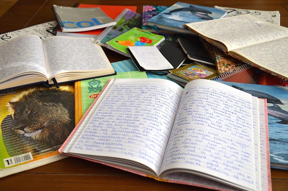 Alle mine rejsedagbøger.