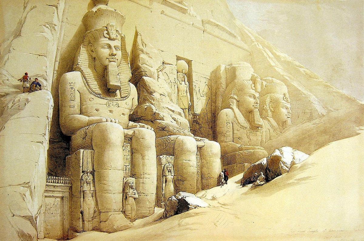Det egyptiske tempel Abu Simbel i Nubien