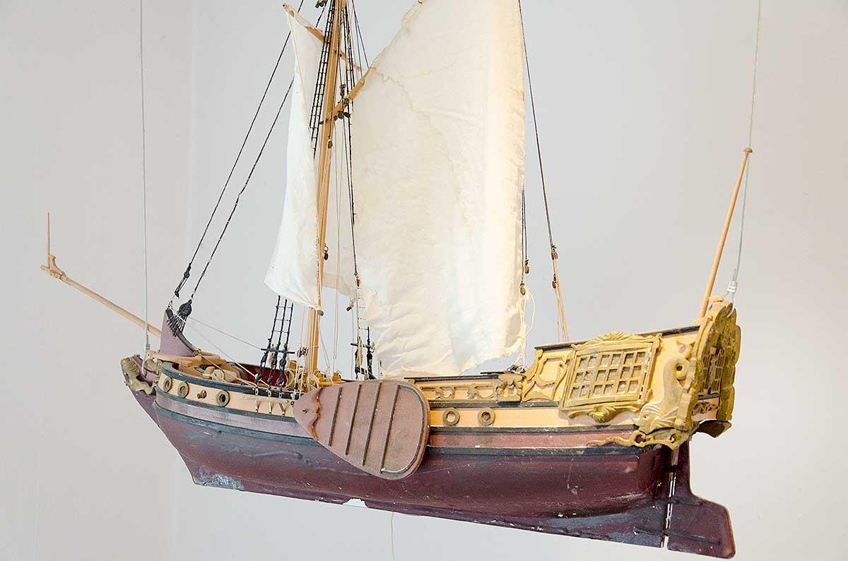 En model af Jens Munks skib Lamprenen, som den kunne have set ud