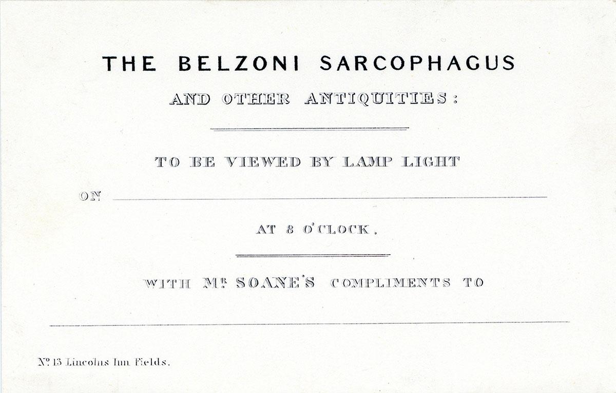 Invitationsbrev til udstillingen af Seti I's alabastersarkofag