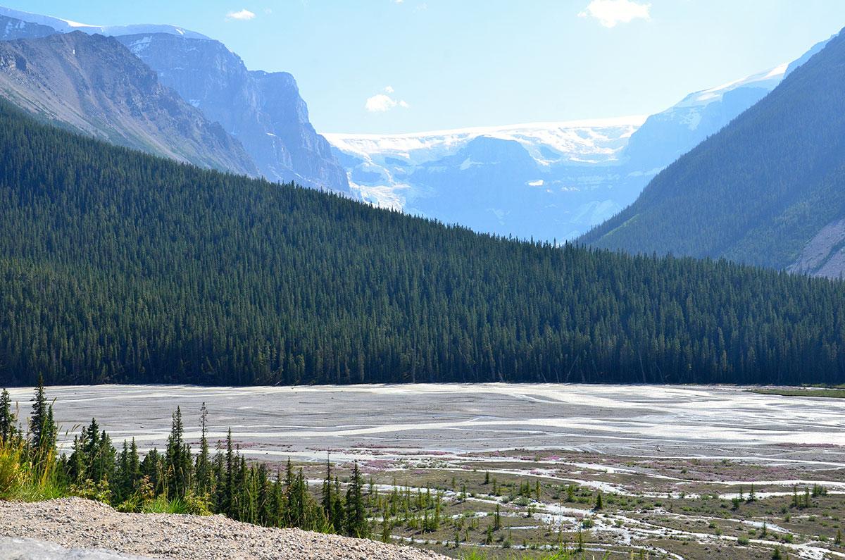 Starten på Columbia Icefields i Canada